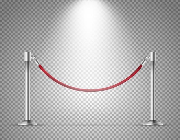 Red velvet rope barrier isolated on transparent