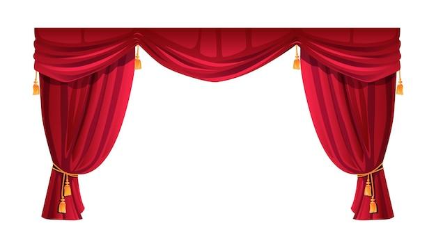 赤いベルベットのステージカーテン劇場の装飾アイコン
