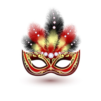Red venetian carnival mardi gras colorful party mask with decoration feathers and diamonds vector illustration