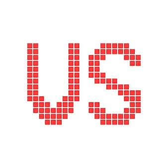 Red versus sign in pixel art. concept of 8bit videogame, together confrontation, enemy assault, wrestling. isolated on white background. pixelart style trend modern logotype design vector illustration