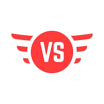 Red versus sign with wings. concept of confrontation, union, relation, opposition, contraposition, stonewall. isolated on white background. flat style trend modern brand design vector illustration