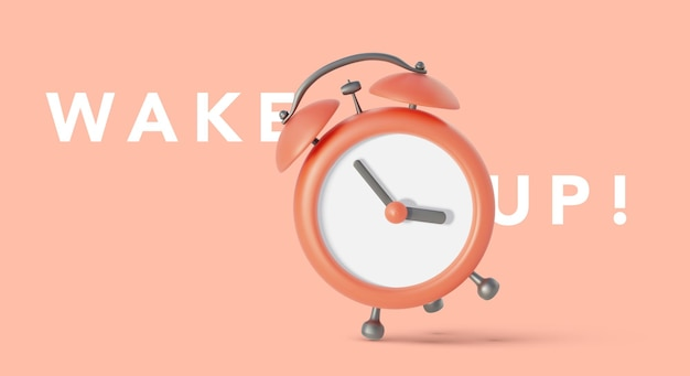 Red vintage alarm clock falling on the floor with bright red background in pastel colors,  illustration