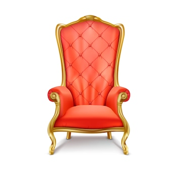 Red vintage armchair in a realistic style