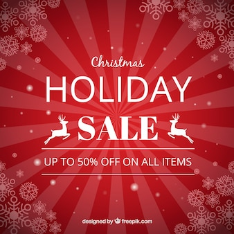 Red vintage background of christmas sales