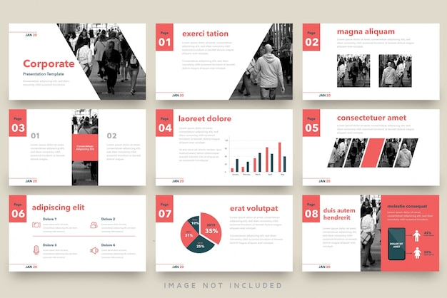 Red vintage business presentation template set