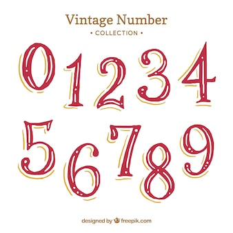 Red vintage number collection