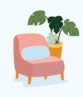 Красный винтажный диван или кресло в плоский, изолированные на белом фоне. значок стула для вашего дизайна.