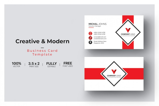 Red visiting card template