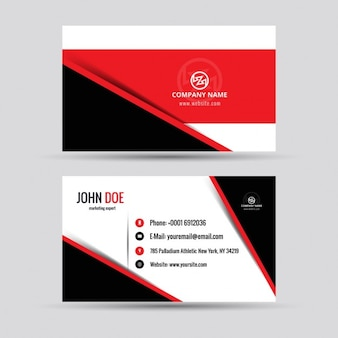 Red visiting card with abstract shapes