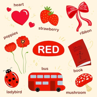 Red vocabulary set in english