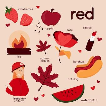 Pacchetto di parole rosse e vocabolario