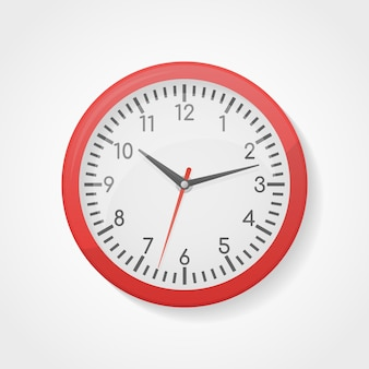 Red wall office clock.