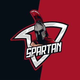 Red warrior spartan e-sport mascot logo