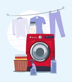 세탁 장면에서 빨간 세탁기