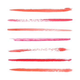 分離された赤い水彩筆ストロークコレクション