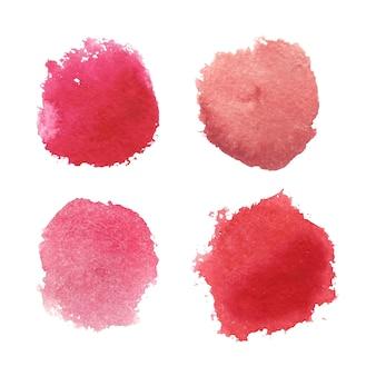分離された赤い水彩サークルステインコレクション