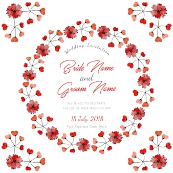 Red watercolor floral wedding invitation card