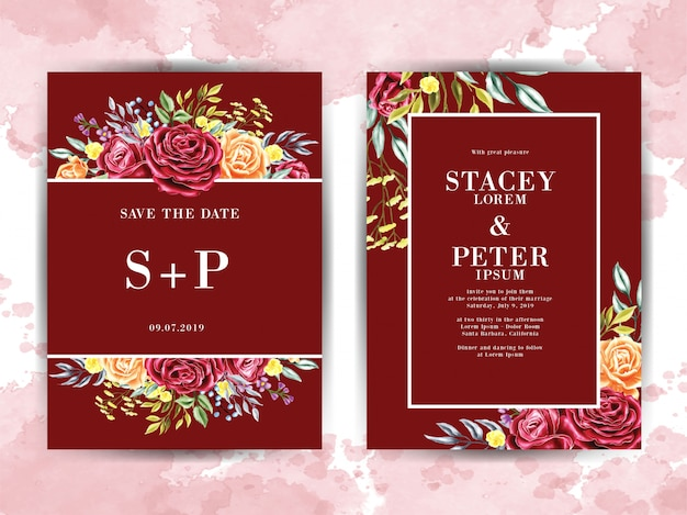 Red watercolor flower template wedding invitation