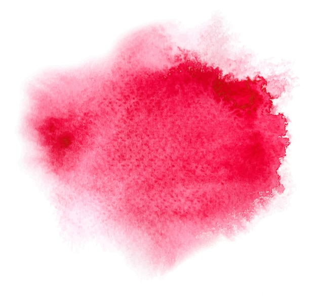 Red watercolor stain with aquarelle paint blotch, wet edges, color blots for valentine day
