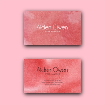 Red watercolor texture corporate business card template