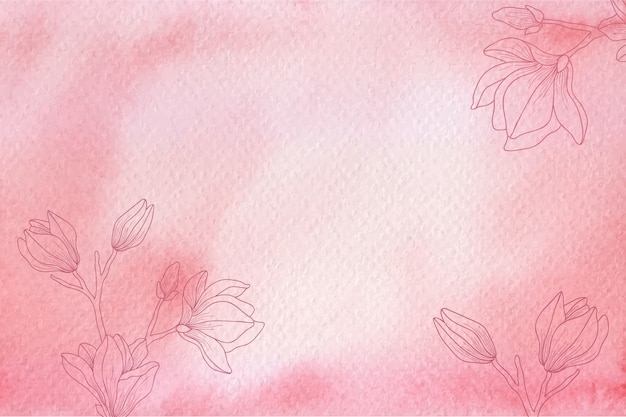 Red watercolor texture with hand drawn flowers background