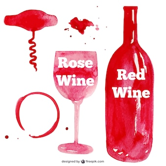Red watercolor wine glass and bottle
