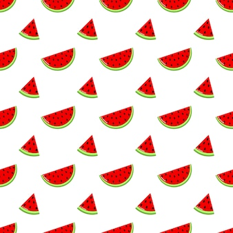Red watermelon slices seamless pattern. fruit