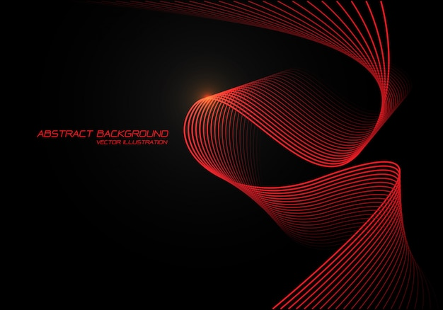 Red wave curve 3d light on black background.