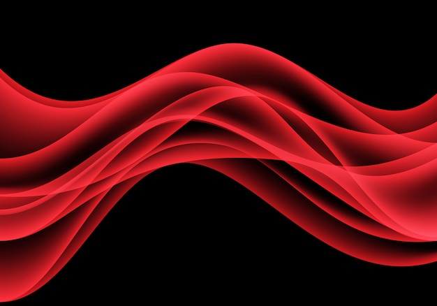 Red wave curve motion on black background luxury.