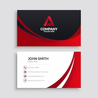 Red wave modern business card template