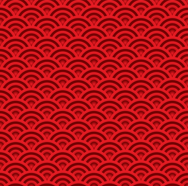 Red wave seamless pattern. asian traditional art style background vector