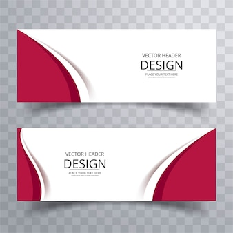 Red wavy banners