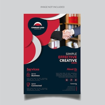 Red wavy business flyer template with photo