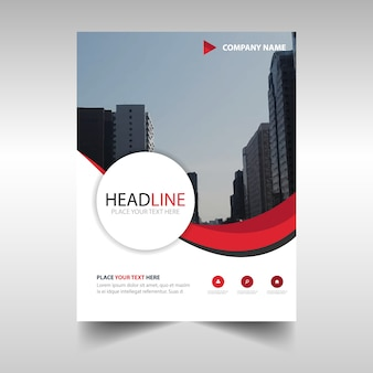 Red wavy corporate brochure template