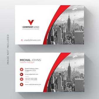 Red wavy vector business card template