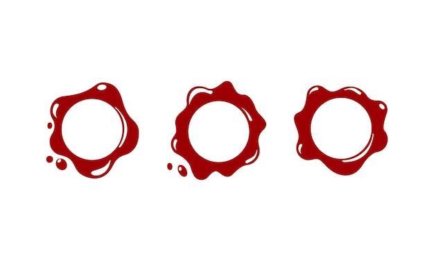 赤いワックスシールアイコン。スタンプ。孤立した白い背景の上のベクトル。 eps10。