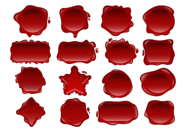 Red wax seal illustrations set
