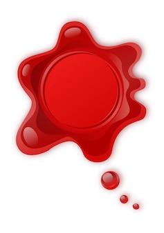 白い背景で隔離赤いワックスシール。レトロと古いシールワックススタンプです。保護と認証、保証と品質マーク。ビジネス契約。送料・メール便。