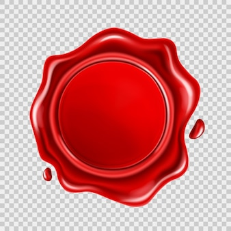 Red wax seal isolated on transparent background. realistic round retro stamp for document, envelope, letter or banner. concept of quality, certification or guaranty mark. vector illustration.