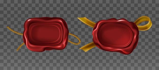 Timbri di sigillo di cera rossa in stile realistico
