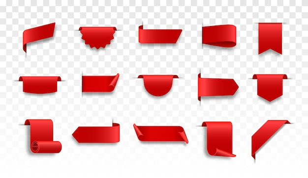 Red web ribbons set curled scroll ribbons