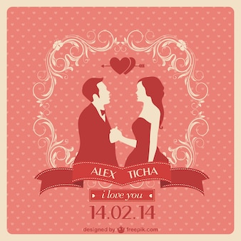 Red wedding invitation with a couple in love