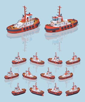 Red and white 3d lowpoly isometric tugboat