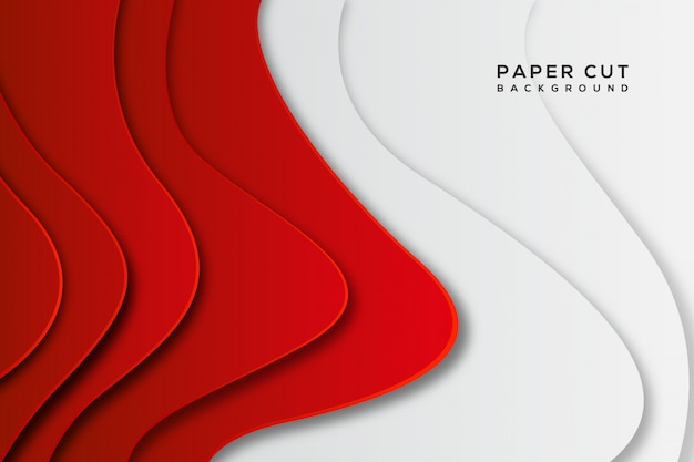 Red white abstract paper cut background