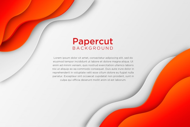 Red white abstract wavy paper cut background