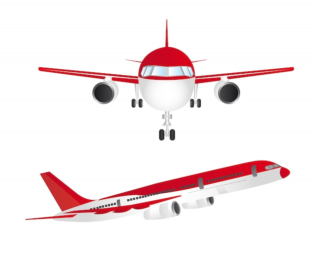 Red and white aircraft isolated over white background vector