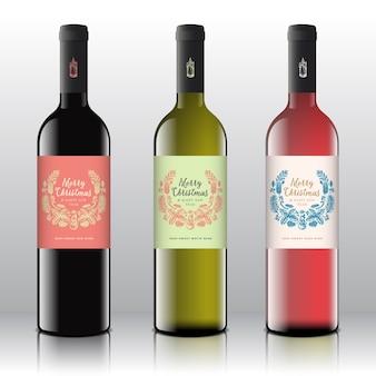 현실적인 병에 빨간색, 흰색 및 분홍색 와인 세트.