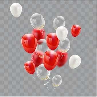 Red white balloons confetti concept design
