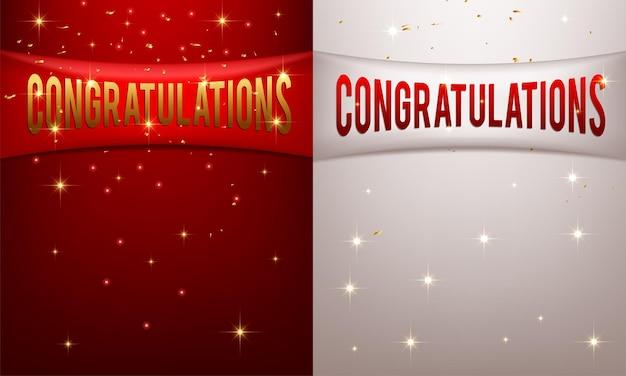 Striscioni rossi e bianchi con congratulazioni di testo