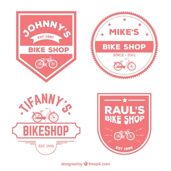 Red and white bike labels